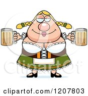 Cartoon Of A Chubby Oktoberfest German Woman Holding Two Beers Royalty Free Vector Clipart