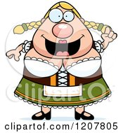 Cartoon Of A Smart Chubby Oktoberfest German Woman Royalty Free Vector Clipart by Cory Thoman