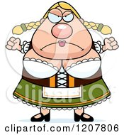 Cartoon Of A Mad Chubby Oktoberfest German Woman Royalty Free Vector Clipart