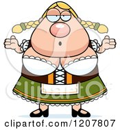 Cartoon Of A Careless Shrugging Chubby Oktoberfest German Woman Royalty Free Vector Clipart