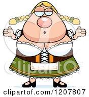 Cartoon Of A Careless Shrugging Chubby Oktoberfest German Woman Royalty Free Vector Clipart
