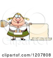 Cartoon Of A Chubby Oktoberfest German Woman With A Beer And Sign Royalty Free Vector Clipart