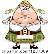 Cartoon Of A Depressed Chubby Oktoberfest German Woman Royalty Free Vector Clipart