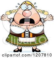 Cartoon Of A Scared Chubby Oktoberfest German Woman Royalty Free Vector Clipart
