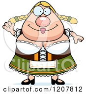 Cartoon Of A Waving Chubby Oktoberfest German Woman Royalty Free Vector Clipart by Cory Thoman