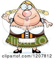 Cartoon Of A Waving Chubby Oktoberfest German Woman Royalty Free Vector Clipart by Cory Thoman