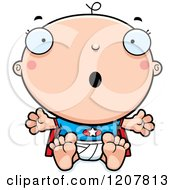 Cartoon Of A Surprised Super Infant Baby Boy Royalty Free Vector Clipart