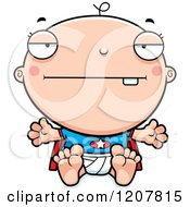 Cartoon Of A Bored Super Infant Baby Boy Royalty Free Vector Clipart by Cory Thoman