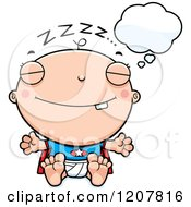 Cartoon Of A Dreaming Super Infant Baby Boy Royalty Free Vector Clipart