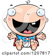 Cartoon Of A Happy Excited Super Infant Baby Boy Royalty Free Vector Clipart by Cory Thoman