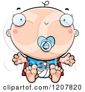 Cartoon Of A Super Infant Baby Boy With A Pacifier Royalty Free Vector Clipart by Cory Thoman