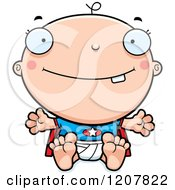 Cartoon Of A Happy Super Infant Baby Boy Royalty Free Vector Clipart by Cory Thoman