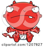 Cartoon Of A Mad Devil Infant Baby Royalty Free Vector Clipart by Cory Thoman