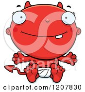 Cartoon Of A Happy Devil Infant Baby Royalty Free Vector Clipart by Cory Thoman
