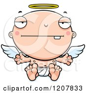 Cartoon Of A Bored Baby Infant Angel Royalty Free Vector Clipart by Cory Thoman