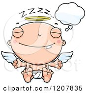 Cartoon Of A Dreaming Baby Infant Angel Royalty Free Vector Clipart by Cory Thoman