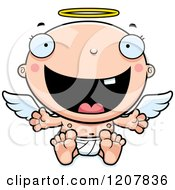 Cartoon Of A Happy Baby Infant Angel Royalty Free Vector Clipart by Cory Thoman