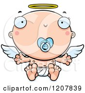Cartoon Of A Baby Infant Angel With A Pacifier Royalty Free Vector Clipart