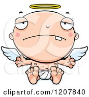 Cartoon Of A Depressed Baby Infant Angel Royalty Free Vector Clipart by Cory Thoman