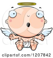 Cartoon Of A Surprised Baby Infant Angel Royalty Free Vector Clipart by Cory Thoman