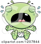 Cartoon Of A Crying Alien Infant Baby Royalty Free Vector Clipart
