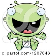 Cartoon Of A Laughing Alien Infant Baby Royalty Free Vector Clipart