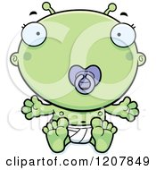 Cartoon Of A Sitting Alien Infant Baby With A Pacifier Royalty Free Vector Clipart by Cory Thoman