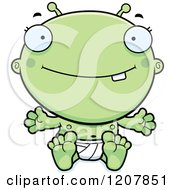Cartoon Of A Happy Sitting Alien Infant Baby Royalty Free Vector Clipart by Cory Thoman