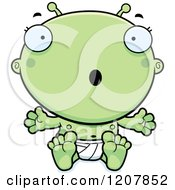 Cartoon Of A Surprised Alien Infant Baby Royalty Free Vector Clipart