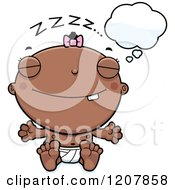 Cartoon Of A Dreaming Baby Infant Black Girl Royalty Free Vector Clipart