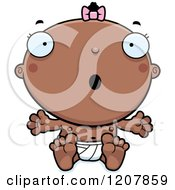 Cartoon Of A Surprised Baby Infant Black Girl Royalty Free Vector Clipart