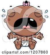 Cartoon Of A Crying Baby Infant Black Girl Royalty Free Vector Clipart by Cory Thoman