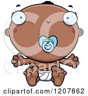 Cartoon Of A Sitting Black Baby Boy With A Pacifier Royalty Free Vector Clipart by Cory Thoman