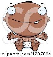 Cartoon Of A Smiling Happy Black Baby Boy Royalty Free Vector Clipart