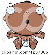 Cartoon Of A Surprised Black Baby Boy Royalty Free Vector Clipart