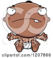 Cartoon Of A Mad Black Baby Boy Royalty Free Vector Clipart