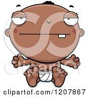 Cartoon Of A Bored Black Baby Boy Royalty Free Vector Clipart