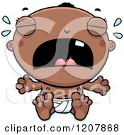 Cartoon Of A Crying Black Baby Boy Royalty Free Vector Clipart