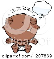 Cartoon Of A Dreaming Black Baby Boy Royalty Free Vector Clipart by Cory Thoman