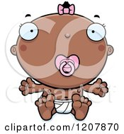 Cartoon Of A Baby Infant Black Girl With A Pacifier Royalty Free Vector Clipart by Cory Thoman