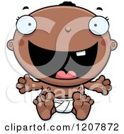 Cartoon Of A Happy Black Baby Boy Royalty Free Vector Clipart