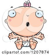 Cartoon Of A Surprised Baby Infant Caucasian Girl Royalty Free Vector Clipart