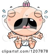 Cartoon Of A Crying Baby Infant Caucasian Girl Royalty Free Vector Clipart