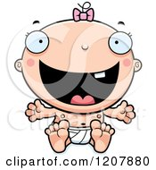 Cartoon Of A Happy Excited Baby Infant Caucasian Girl Royalty Free Vector Clipart