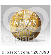 Clipart Of A 3d News Media And Press Globe On Gray Royalty Free CGI Illustration by MacX