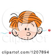 Cartoon Of A Forgetful Boy With Information Going In One Ear And Out The Other Royalty Free Vector Clipart