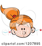 Cartoon Of A Forgetful Girl With Information Going In One Ear And Out The Other Royalty Free Vector Clipart