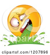 Cartoon Of A Sick Yellow Emoticon Smiley Vomiting Royalty Free Vector Clipart