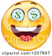 Cartoon Of A Yellow Emoticon Smiley With Dollar Eyes Royalty Free Vector Clipart