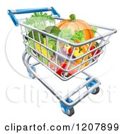Cartoon Of A Grocery Store Shopping Cart Full Of Vegetables Royalty Free Vector Clipart
